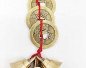 Dream Home Treasure Brass Fengshui Vastu Lucky 3 Bell and 3 Coins Door Hanging