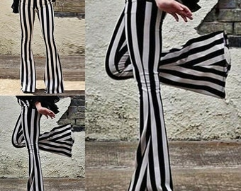 Cute Black and white striped flared trousers - beetlejuice style Bell bottom leggings - goth fashion 2021