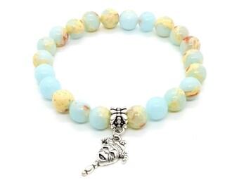 Jewelry 4mm men mom Blue shoushan stone gemstone bracelet crystal healing beaded bracelet gift for girlfriend boyfriend women