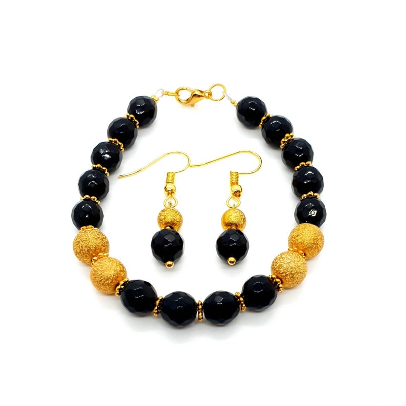 Black Agate Crystal Jewelry Set Jewellery Gift Set Crystal Bracelet Small Gold Aesthetic Earrings Mothers Day Gift Birthday Gift For Her UK