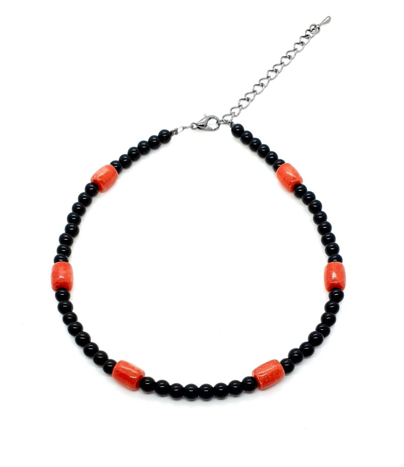 Black Agate Crystal Handmade Bead Anklet With Red Coral Adjustable Ankle Bracelet Natural Gemstone Mothers Day Gift Birthday Gift For Her UK