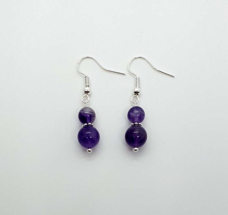 Simple Amethyst Crystal Earrings Dangle Silver Drop Handmade Aesthetic Earrings Unique Healing Gemstone Mothers Day Gift Birthday Gift UK