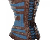 Harnock Denim Overbust Women Corset With Brown Faux Leather