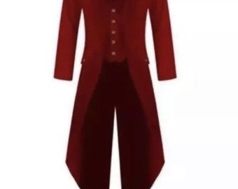 Mens Red Tuxedo Tailcoat Greatest Showman Tux Tail Theater Circus Ringmaster
