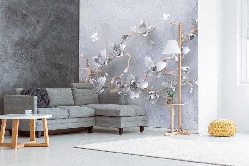 3D Blumen Schmetterlinge Tapete Floral Wand Poster