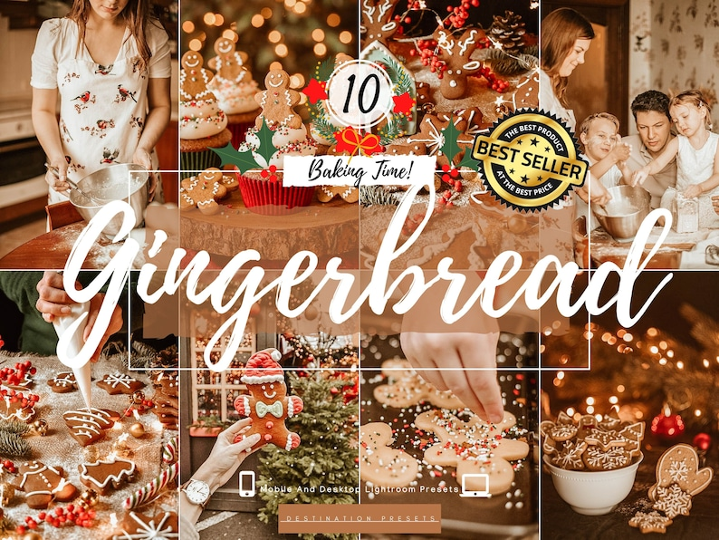 GINGERBREAD Lightroom Presets Christmas Presets for Family image 0