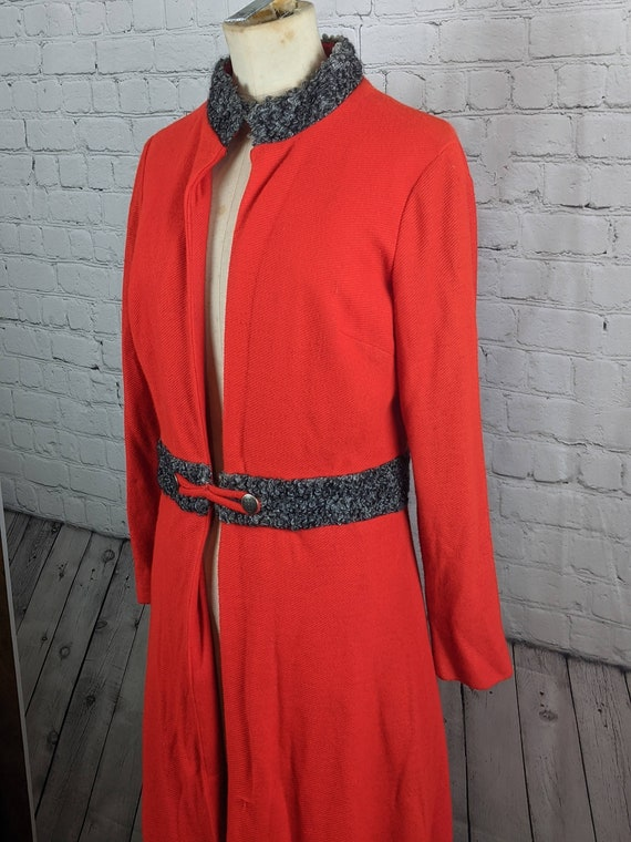 1940s  Red Faux Persian Lamb Light Weight Coat
