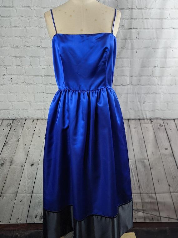 1970s Rizkallah Blue Satin Dress