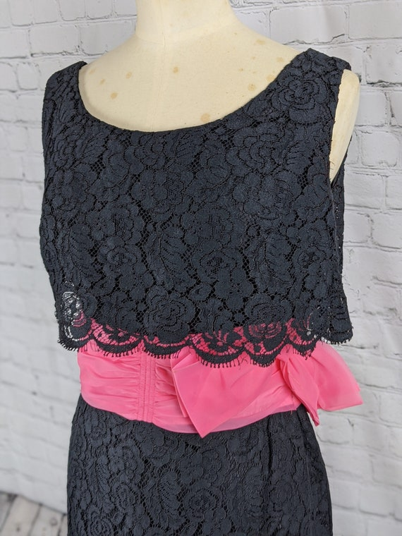 1960s Black Lace Cocktail Dress