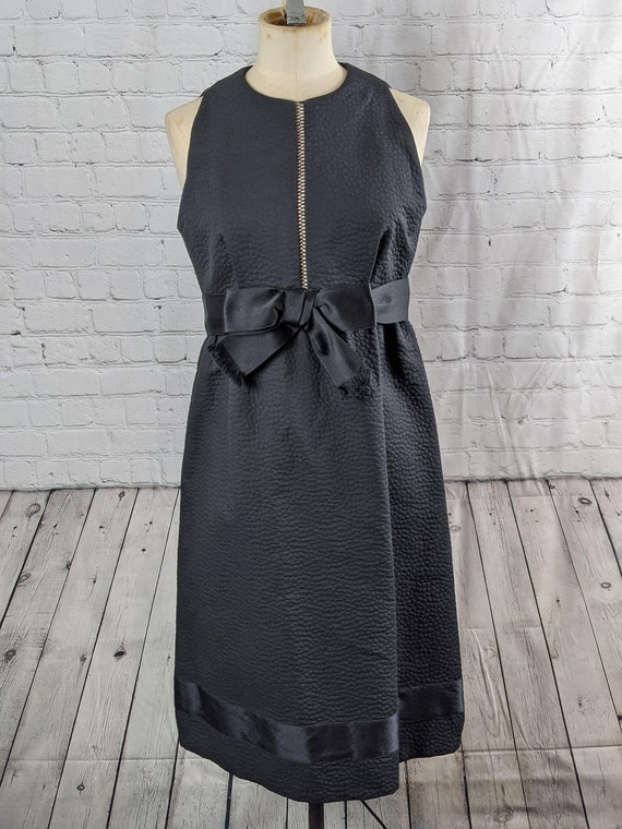 1960s Mod Little Black Bow Dress