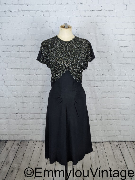 1940s Black Sequin Party Dress