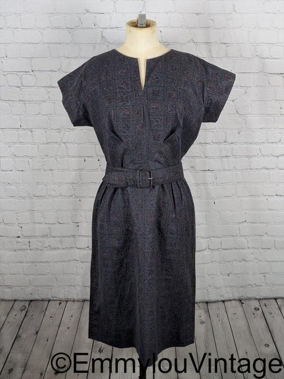 1960s Geometric Print Wiggle Dress