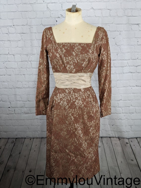 Lovely 1950s Faun Brown Lace Wiggle Dress