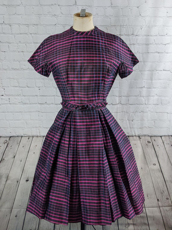 1950s Black and Purple Plaid Dress