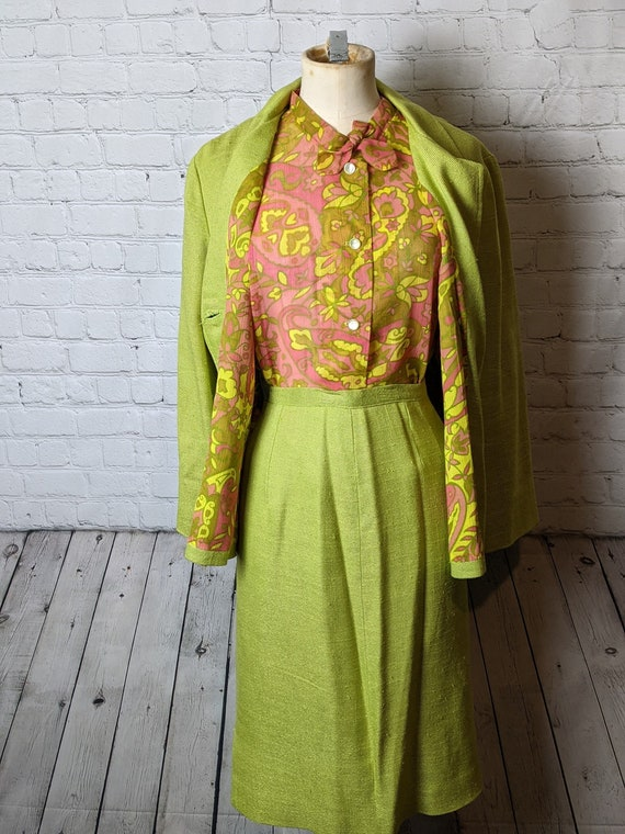 1960s Three Piece Green and Pink Groovy Skirt Suit