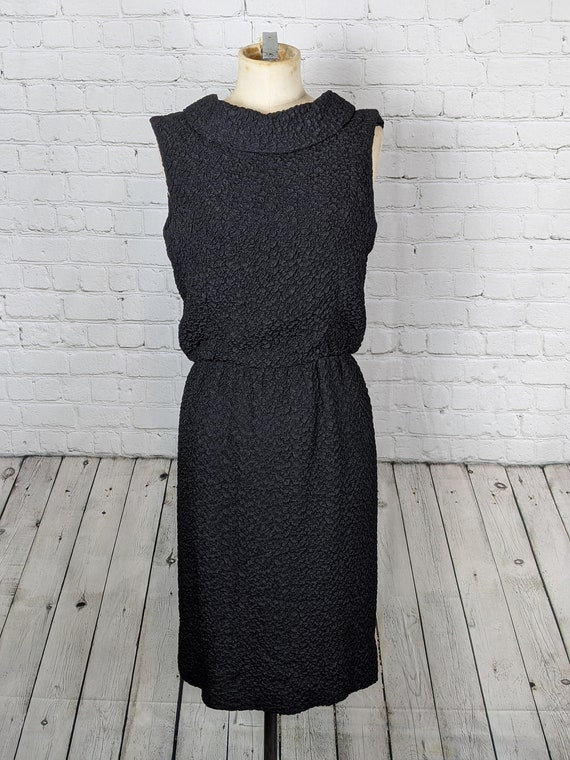 1960s Black Cowl Neck Open Backed Cocktail Dress