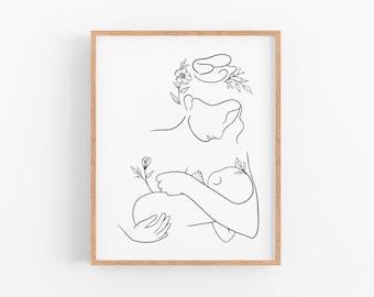 Mother and Baby Wall Art   Minimal Nursery Line Art Print   Mother and Child Breastfeeding Art   Printable Nursery Art   Black and White Art