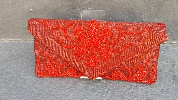 1950s scarlet red bead encrusted clutch.