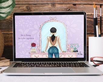 She is Her Superhero - Desktop Wallpaper - Fashion Illustration - Feminine Digital Art