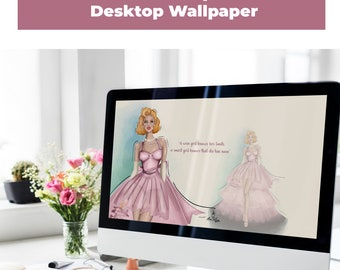 Marilyn Monroe Quote Wallpaper Desktop, Computer wallpaper, Zoom Background, Instant download Fashion Illustration