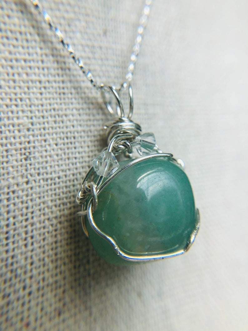 Aventurine Green Stone and crystal Sterling Silver Necklace