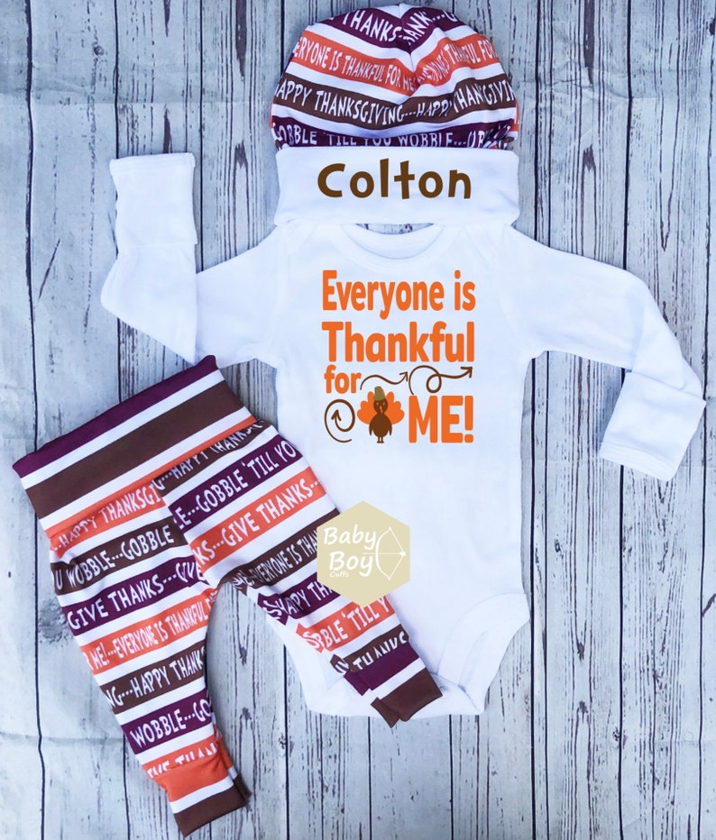 Outfit personalized My First Thanksgiving Pumpkins Everyone is thankful for me Thanksgiving Baby Boy First Thanksgiving  Outfit