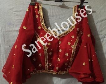Orange Designer Plain Readymade Solid Blouse Stitched Indian Women lehenga Wedding Durga Puja Sari Blouse Saree Blue red pink green black