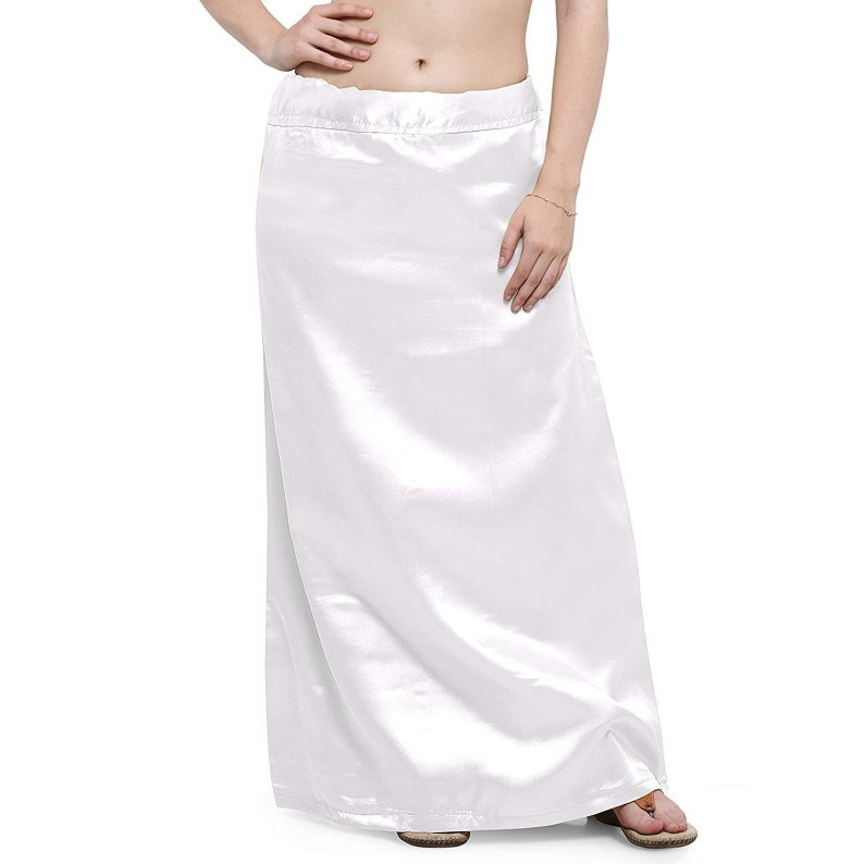 White Readymade Women/'s Free Size Satin Silk Solid Sari Petticoat In Skirt For Saree Under Skirt Stitched Craft Clothing Shapewear
