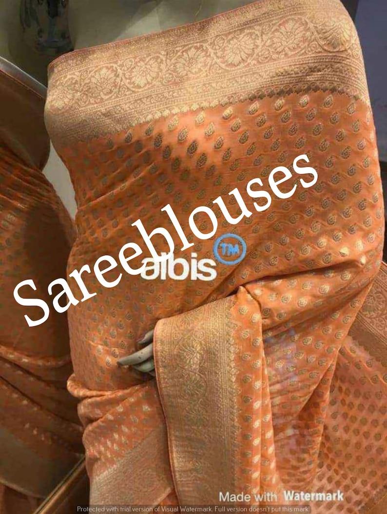 Durga Puja Exclusive Beautiful Banarasi Pure Georgette Silk Saree With Unstitched Running Blouse Women wedding Wear Party Wear Sari