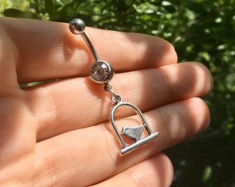 Flying black bird in out belly ring-SALE CLEARANCE