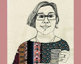 A Stitched Portrait created live over Zoom with a Sewing Machine