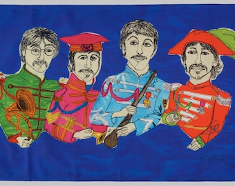 The Beatles STITCHED Cloth Print Tea-Towel by Harriet Riddell
