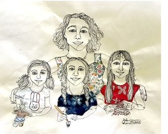 Online Stitched Portrait, Family of Four