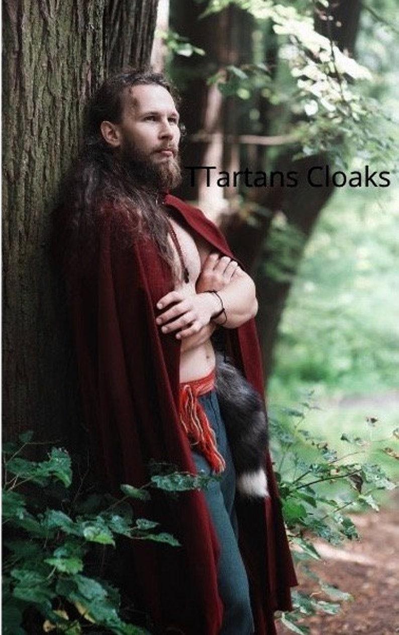 Dark Burgundy Medieval Ranger Cloak Brown Color Cloaks Available Grey Full Circle  Cosplay Cloak Maroon Hooded cloak Cosplay Cloak