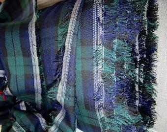 BY 3/5/10 Yard, Black Watch Tartan Plaid  Fabric, Interior Decorate Plaid Fabric, Black Blue Green Plaid Suiting Fabric, Upholstery  Fabric