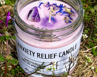 ANXIETY RELIEF Candle/Moon-Charged/Manifestation/Calming/Crystals/Relaxation/Healing/Intention/Handmade/Hand-Poured/Vegan
