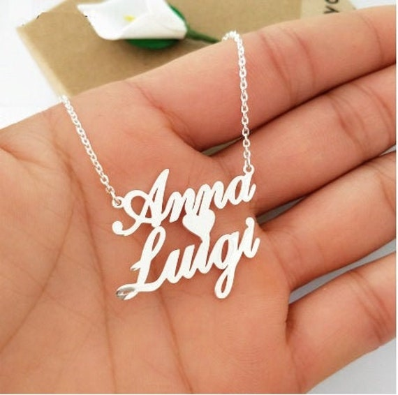 Custom Double Name Necklace-Personalized Necklace Two Names In Heart Custom Couple Name Necklace-Personalized Couples Name Choker- #NN-36