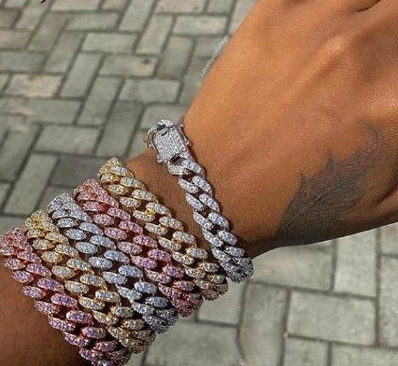 Cuban Link Bracelet-12mm pink Cuban bracelet-Rose Gold Color-Link Miami 12mm Rose Gold Cuban Bracelet-Cuban bracelet-woman jewelry-#ICN-23