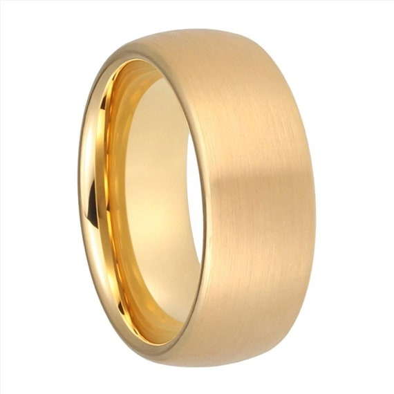 Men Gold Tungsten Ring- 8mm Comfort fit band-Tungsten Carbide Brushed-Anniversary-Gift-Engagement Domed ring-wd-61