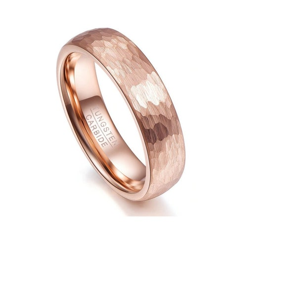 Hammered Mens Wedding Band-8mm Tungsten 8mm Men's Rings-Geometric Figure Rose Gold Wedding Engagement Band-Wedding Ring-Mems Jewelry #wd-09