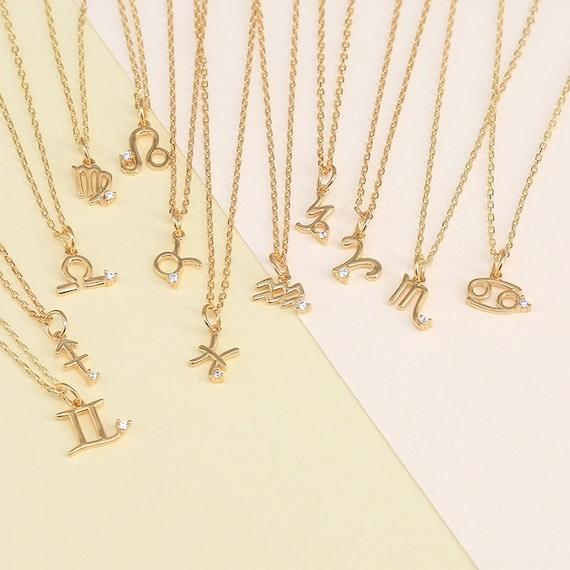 Sterling Silver Zodiac Necklace-Zodiac Sign Necklace-Zodiac Pendent-Zodiac Sign Jewelry-Gift for woman-Zodiac Necklace #NN-74
