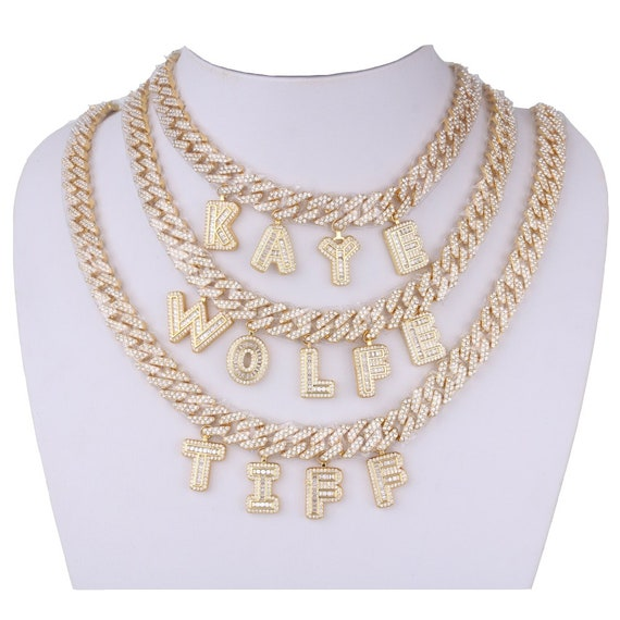 Gold Plated Miami Cuban  with Baguette Letter Iced Out bubble letter pendant-Men's Jewelry Hip Hop style-Custom Bubble letter#ICN-27