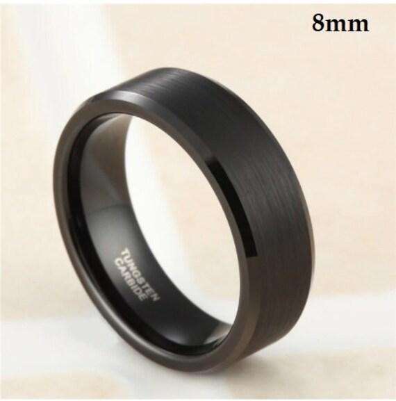 Black Wedding Band-Wood Sleeve Tungsten Ring-Men 8mm Comfort fit--Black Tungsten Ring-Men's Black Wedding Band--#wd-18