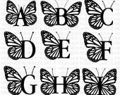 Butterfly Monogram Alphabet SVG, PNG, Monogram Frame Alphabet, Cut File for Cricut, Silhouette, 26 Individual Cut Files