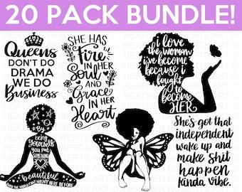 Black Girl Magic SVG Bundle, Black woman SVG, Boss Lady Svg, Black Lives Matter, Afro Lady Woman, Diva, Tshirt, Cut File Cricut, Silhouette