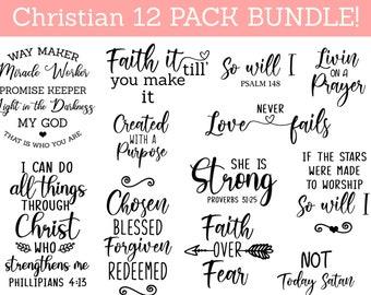 Christian Bundle SVG, Scripture Bundle, Instant Download, Bible Verse Bundle, Cut Files for Cricut, Religious SVG, Jesus, God, Faith svg dxf