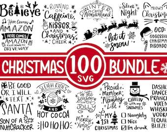 100 Christmas SVG Bundle, Winter svg, Santa SVG, Holiday, Merry Christmas, Christmas Bundle, Funny Christmas Shirt, Cut File Cricut