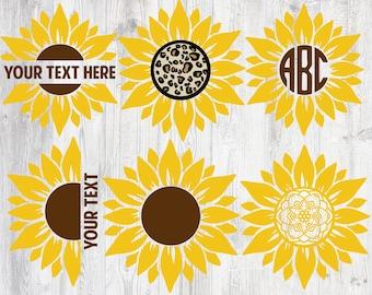 Sunflower SVG Bundle, Sunflower SVG, Flower Svg, Monogram Svg, Half Sunflower Svg, Sunflower Svg Files, Cut file Cricut, Silhouette, Cameo