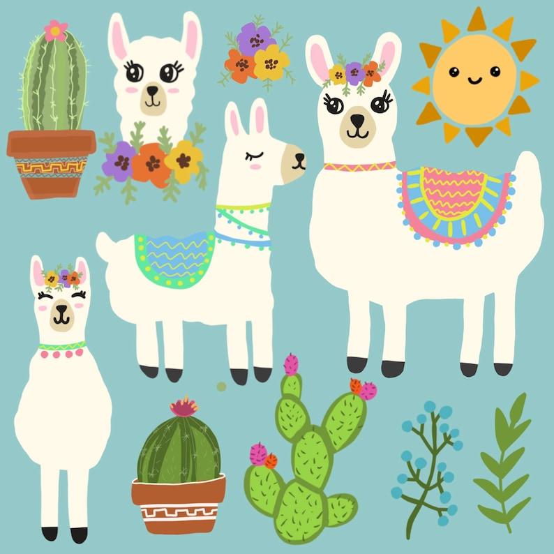 Decorated Llama Cute llama Digital stickers Spring Alpaca Graphics PNG Digital download Alpaca Clip Art Llama Clipart