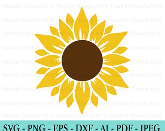 Sunflower SVG, Flower Svg, Digital Download, Clipart, Distressed Sunflower, Svg File Cricut, Png, Dxf,Eps, Silhouette, Cameo